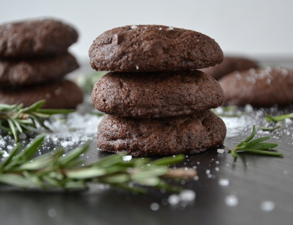 rosemary choc cookies - stacked close up