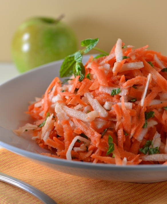 carrot and apple salad - close up