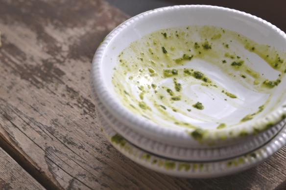 cilantro chutney - empty bowls